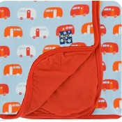 Kickee Pants Custom Print Toddler Blanket (Pond Camper with Poppy Trim and Reverse - One Size)