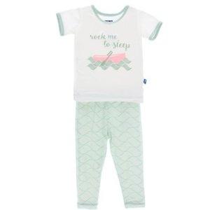 Kickee Pants Short Sleeve Pajama Set (Aloe Water Lattice)