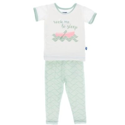 Kickee Pants Short Sleeve Pajama Set (Aloe Water Lattice)