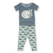 Kickee Pants Short Sleeve PJ Set (Aloe Armadillo)