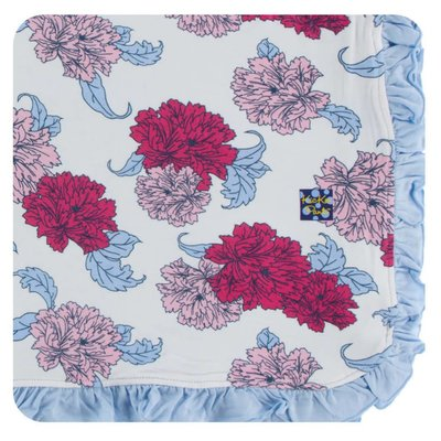 Kickee Pants Print Ruffle Toddler Blanket (Natural Peony - One Size)