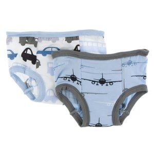 Kickee Pants Training Pants Set (Natural Cars and Trucks & Pond Airplanes)