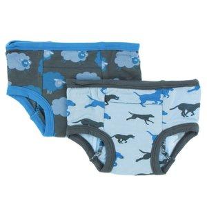 Kickee Pants Training Pants Set (Stone Sheep & Pond Running Labs)