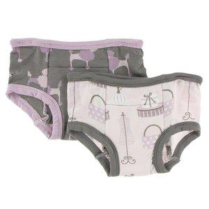 Kickee Pants Training Pants Set (Cobblestone Poodle & Shopping Paris)