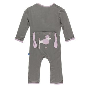 Kickee Pants Applique Coverall with Zipper (Cobblestone Poodle)