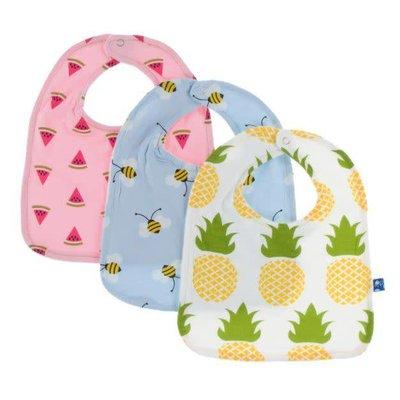 Kickee Pants Bib Set (Lotus Watermelon, Pond Bees, Natural Pineapple - One Size)