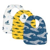 Kickee Pants Bib Set (Natural Sailboat, Lemon Shark, Twilight Whale - One Size)