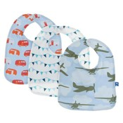 Kickee Pants Bib Set (Pond Camper, Confetti Party Flags, Pond Airplanes - One Size)