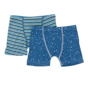 Kickee Pants Boxer Briefs Set Boy Anniversary Stripe & Twilight Starry Sky
