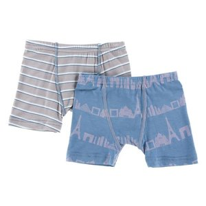 Kickee Pants Boxer Briefs Set Boy Parisian Stripe & Parisian Skyline