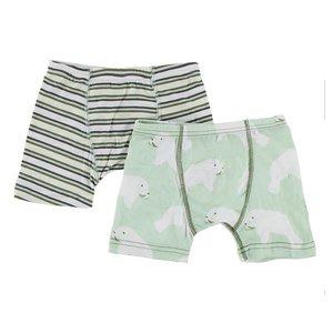 Kickee Pants Boxer Briefs Set Fresh Water Stripe & Aloe Manatee
