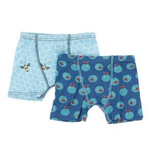 Kickee Pants Boxer Briefs Set Glacier Honeycomb & Twilight Fishbowl