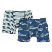 Kickee Pants Boxer Briefs Set (Boy Perth Stripe & Twilight Dolphin Fish)