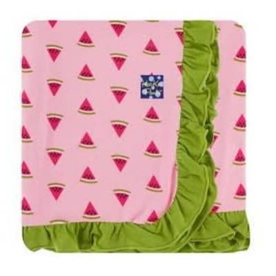 Kickee Pants Custom Print Ruffle Toddler Blanket (Lotus Watermelon with Meadow Trim and Reverse - One Size)