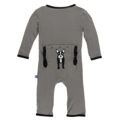 Kickee Pants Applique Coverall with Zipper (French Bulldog)