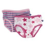 Kickee Pants Girl Underwear (Flamingo Anniversary Stripe & Flamingo Star)