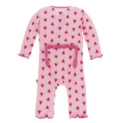 Kickee Pants Print Muffin Ruffle Coverall with Zipper (Lotus Watermelon)