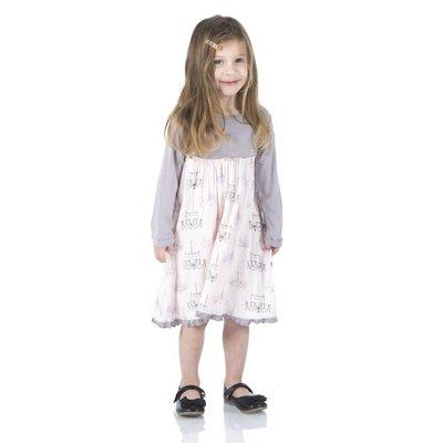 Kickee Pants Print Classic Long Sleeve Swing Dress (Macaroon Chandelier)