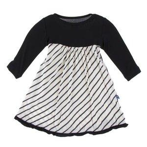 Kickee Pants Print Classic Long Sleeve Swing Dress (Neutral Parisian Stripe)