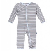 Kickee Pants Print Coverall with Zipper (Boy Parisian Stripe)