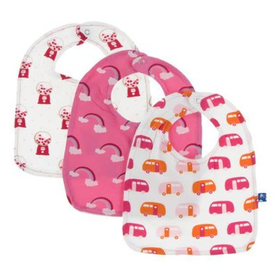 Kickee Pants Bib Set (Natural Gumball Machine, Flamingo Rainbow, Natural Camper - One Size)