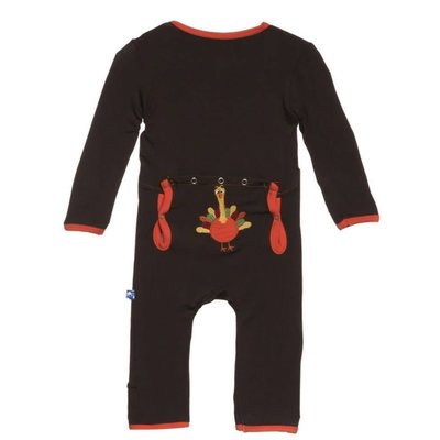 Kickee Pants Bark Turkey Fitted Applique Coverall