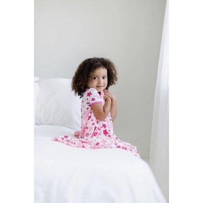 Kickee Pants Print Ruffle Stroller Blanket (Flamingo Star - One Size)