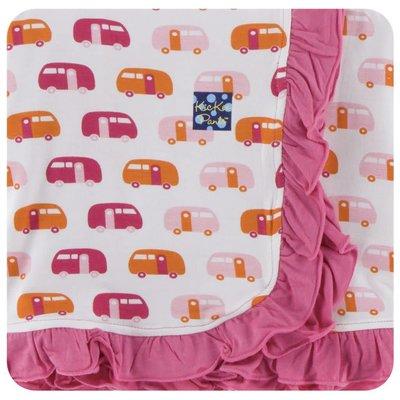 Kickee Pants Print Ruffle Stroller Blanket (Natural Camper - One Size)