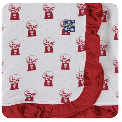 Kickee Pants Print Ruffle Stroller Blanket (Natural Gumball Machine - One Size)