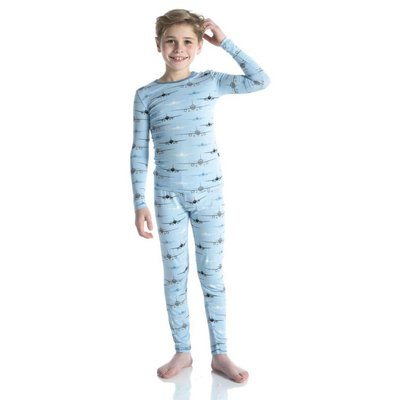 Kickee Pants Long Sleeve Pajama Set (Pond Airplanes)