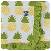 Kickee Pants Print Ruffle Stroller Blanket (Natural Pineapple - One Size)