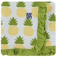 Kickee Pants Print Ruffle Stroller Blanket (Natural Pineapple - One Size)