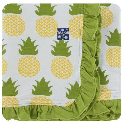 Monag Print Ruffle Stroller Blanket (Natural Pineapple - One Size)