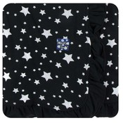 Kickee Pants Print Ruffle Stroller Blanket in Silver Stars (One Size)