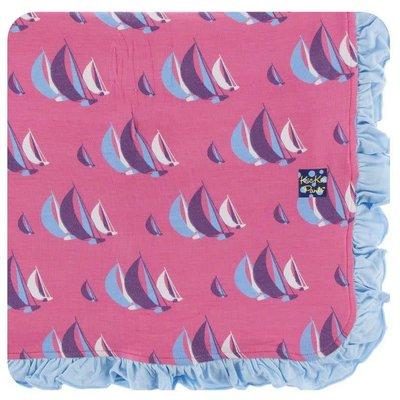 Kickee Pants Print Ruffle Toddler Blanket (Flamingo Sailing Race - One Size)