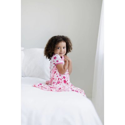 Kickee Pants Print Ruffle Toddler Blanket (Flamingo Star - One Size)