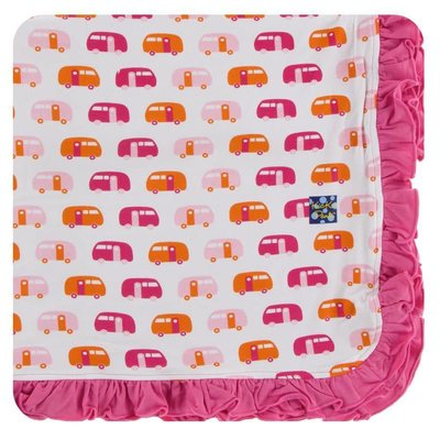 Kickee Pants Print Ruffle Toddler Blanket (Natural Camper - One Size)