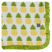 Kickee Pants Print Ruffle Toddler Blanket (Natural Pineapple - One Size)
