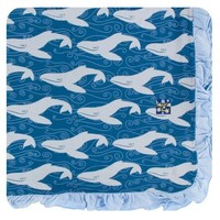 Kickee Pants Print Ruffle Toddler Blanket (Twilight Whale - One Size)