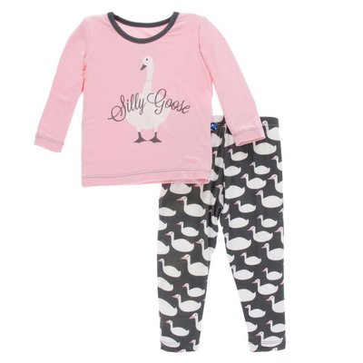 Kickee Pants Long Sleeve Pajama Set (Stone Geese)