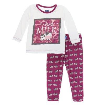 Kickee Pants Long Sleeve Pajama Set (Berry Cow)