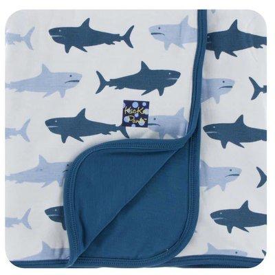 Kickee Pants Print Stroller Blanket (Natural Megalodon - One Size)