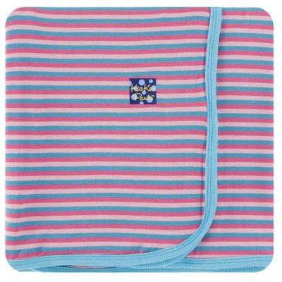 Kickee Pants Print Swaddling Blanket (Flamingo Anniversary Stripe - One Size)