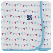 Kickee Pants Print Swaddling Blanket (Flamingo Party Flags - One Size)