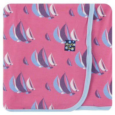 Kickee Pants Print Swaddling Blanket (Flamingo Sailing Race - One Size)