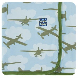 Kickee Pants Print Swaddling Blanket (Pond Airplanes - One Size)