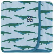 Kickee Pants Print Swaddling Blanket (Pond Crocodile - One Size)