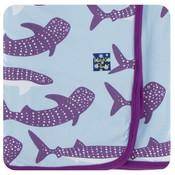 Kickee Pants Print Swaddling Blanket (Pond Whale Shark - One Size)