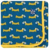 Kickee Pants Print Swaddling Blanket (Twilight Pretzel Pup - One Size)