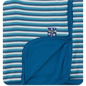 Kickee Pants Print Toddler Blanket (Confetti Anniversary Stripe with Twilight Trim - One Size)